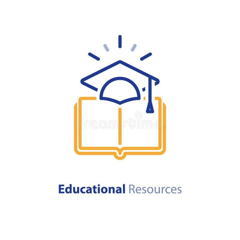 互联网教育资源,学会路线,开放图书馆线象 库存例证