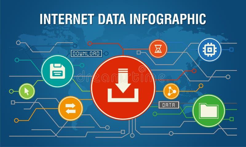 互联网数据传送infographic蓝色背景 皇族释放例证