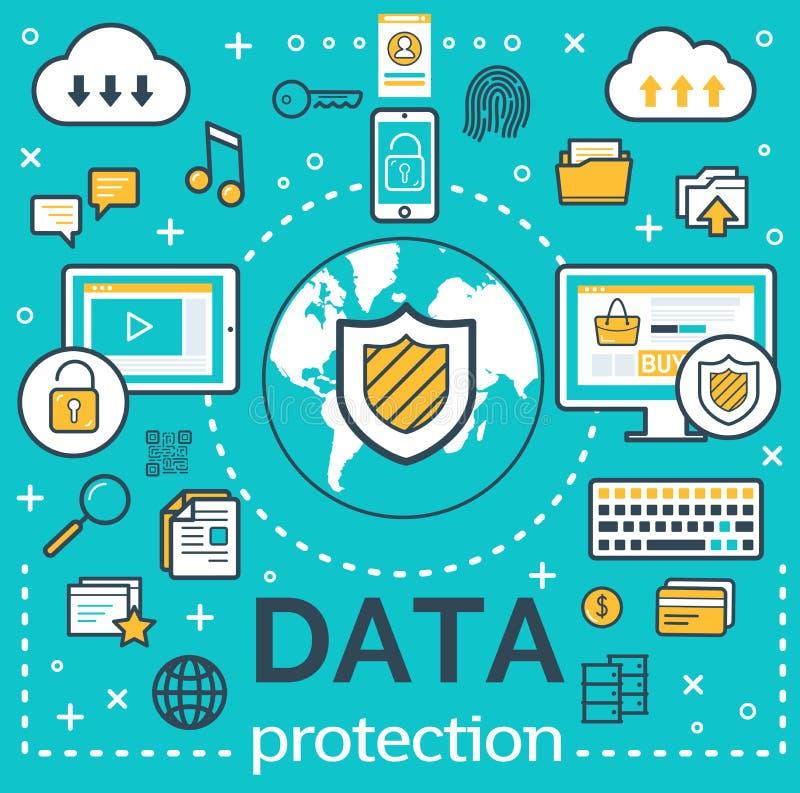 互联网数据保护的传染媒介海报 向量例证