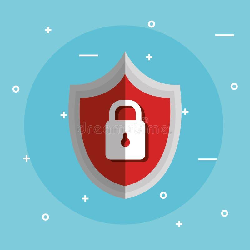 互联网有挂锁的安全盾 库存例证