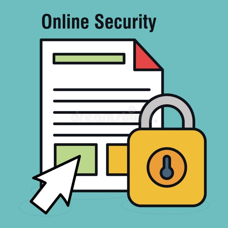 互联网有文件的安全挂锁 库存例证