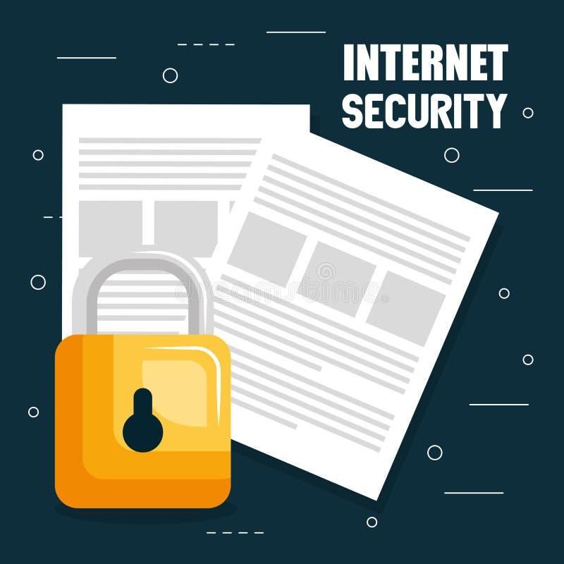 互联网有文件的安全挂锁 皇族释放例证