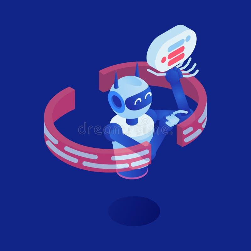 互联网机器人传染媒介等量例证 未来派马胃蝇蛆,真正助理3d卡通人物 ?? 向量例证