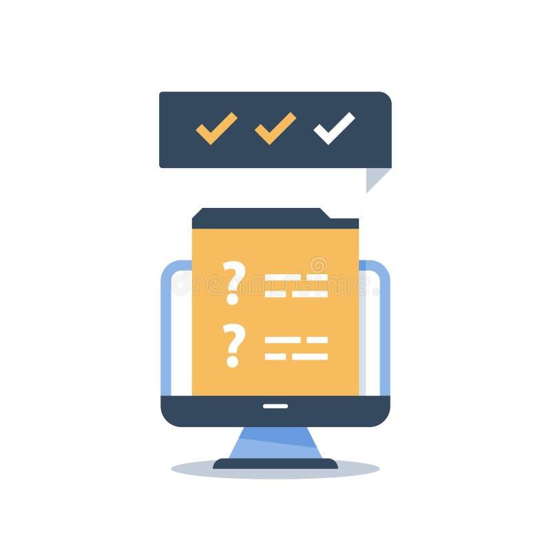 互联网查询表,网上检查,网调查,快速的测验,快的测试,培训班,教育资源,知识评估 库存例证