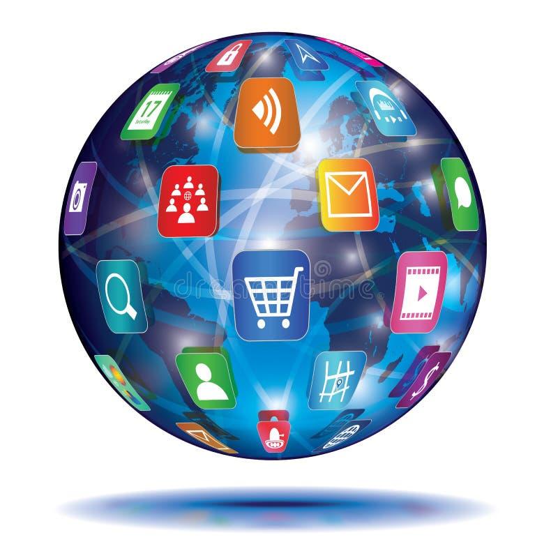 互联网概念。地球。应用象。