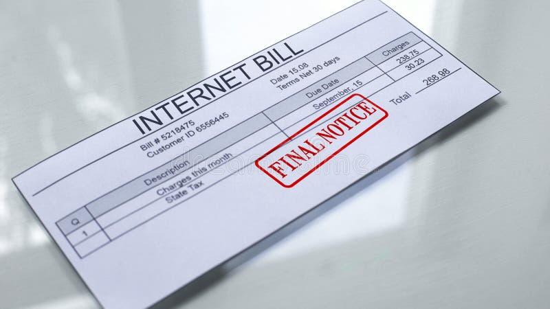 互联网票据最后的通知,在文件盖印的封印,服务的付款 库存照片