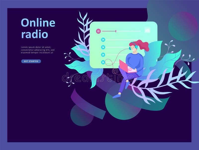 互联网网上无线电放出的听,人们的概念放松听舞蹈 音乐应用,在网上播放表 库存例证