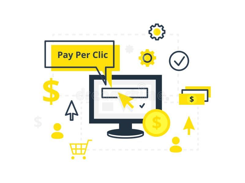 互联网营销、广告概念在线和平的样式 PPC每点击-例证支付 库存例证