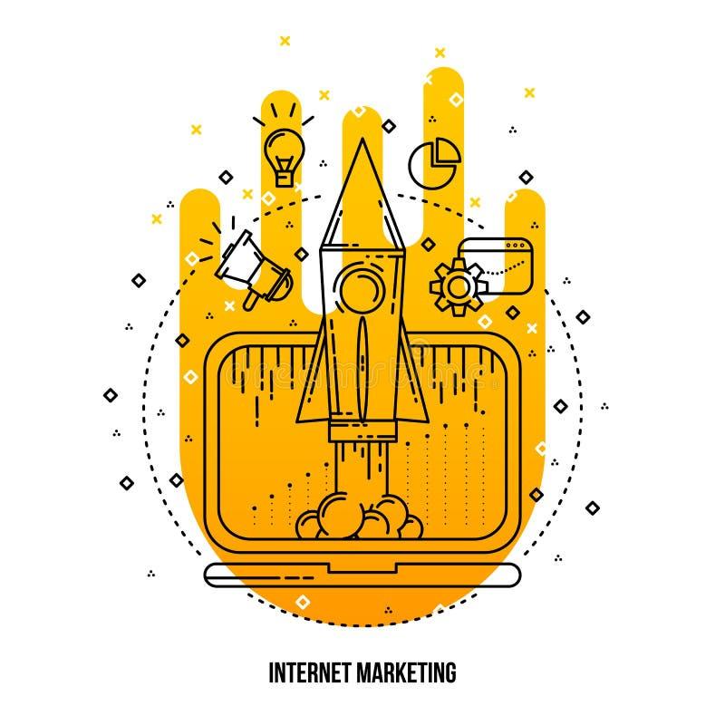 互联网营销例证 传染媒介概述平的背景 向量例证