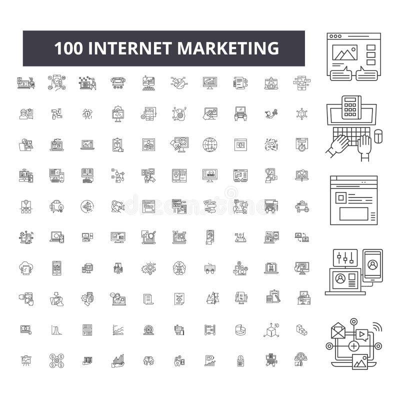 互联网营销编辑可能的线象,100传染媒介集合,汇集 互联网营销黑色概述例证 向量例证