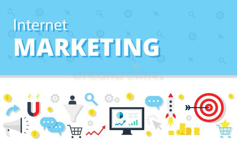 互联网营销,在平的样式的广告概念 现代网站infographics例证图象网横幅 向量例证
