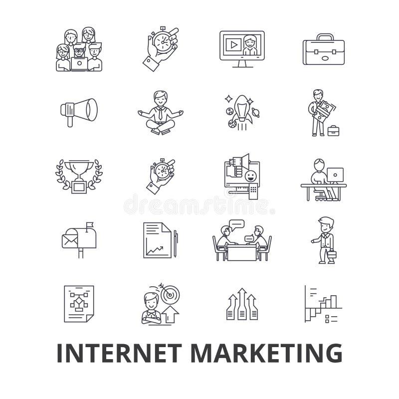 互联网营销, seo,网上,购物,社会媒介,数字式,金钱,网线象 编辑可能的冲程 平的设计 皇族释放例证