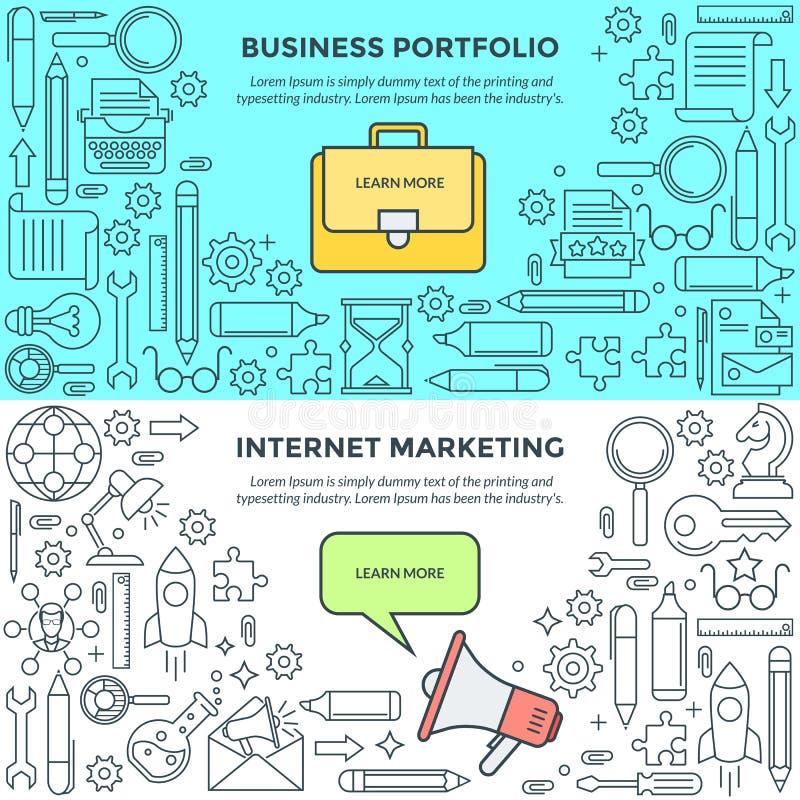 互联网行销和企业股份单的横幅 向量例证