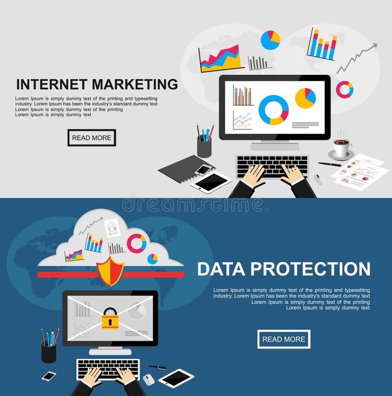 互联网行销和数据保护的横幅 向量例证