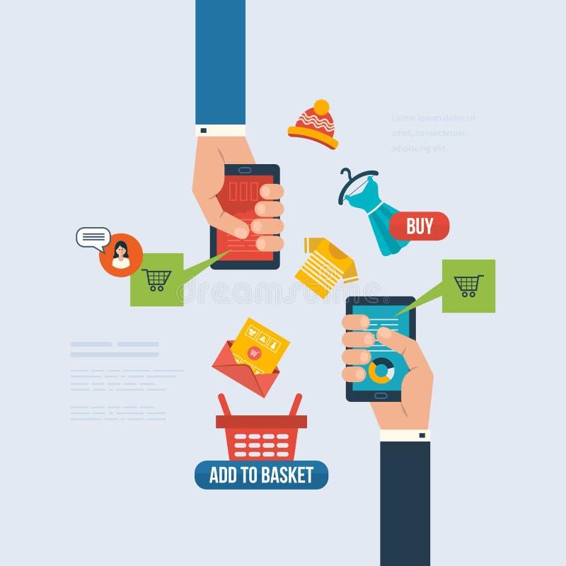 互联网行销的,交付象和在网上 库存例证