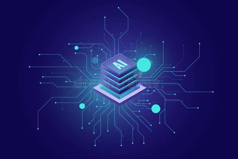 互联网连接、人工智能ai等量象摘要感觉科学技术,服务器室 库存例证