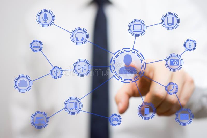 互联网连接的设备和人民 向量例证