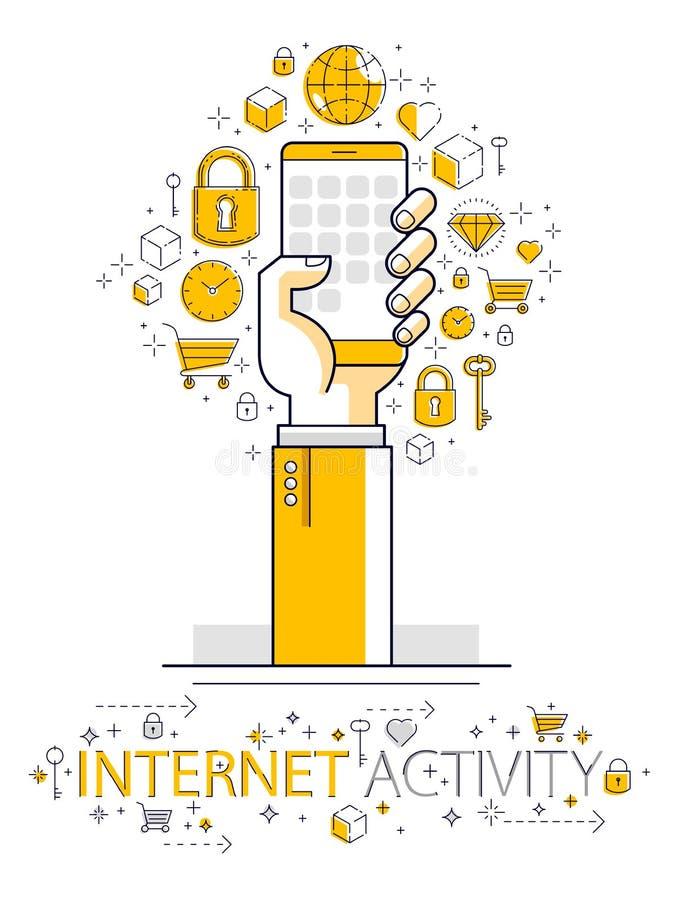 互联网通信和活动,拿着电话和使用应用程序,全球网络,现代通信,信使的人手, 库存例证