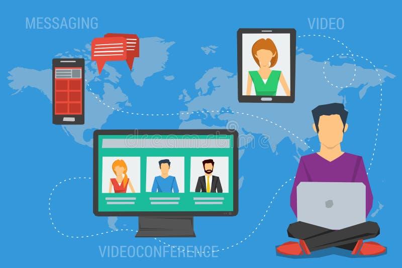 互联网通信的概念在世界范围内 皇族释放例证