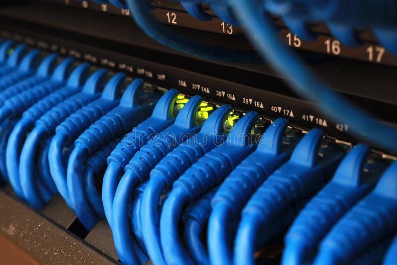 互联网钢缆连接的开关 库存图片
