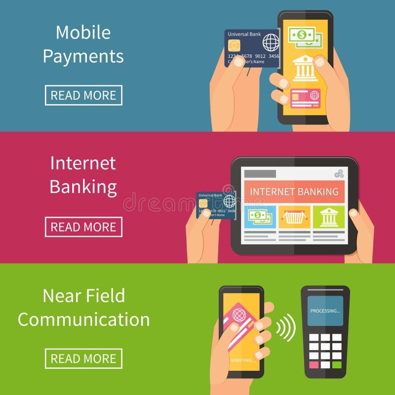 互联网银行业务、流动付款和nfc 皇族释放例证