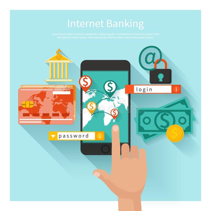互联网银行业务和安全存款概念 向量例证