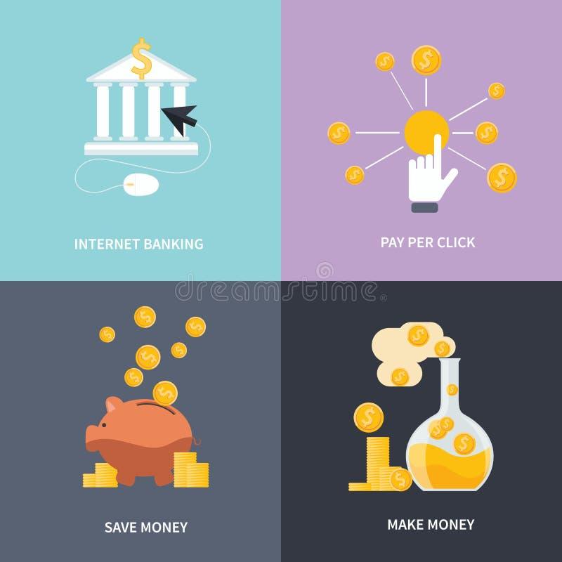 互联网银行业务,挣金钱,存金钱 向量例证