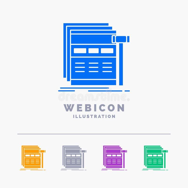 互联网,页,网,网页,wireframe 5颜色纵的沟纹网在白色隔绝的象模板 r 向量例证