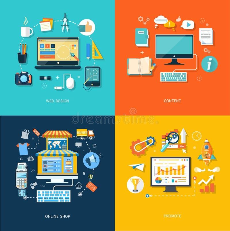 互联网购物网络设计促进内容 库存例证