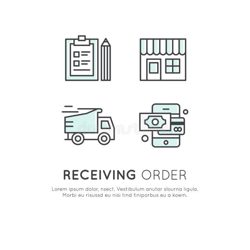 互联网购物过程-与遮篷、网上流动付款、送货卡车和接收顺序的工厂建筑物 向量例证