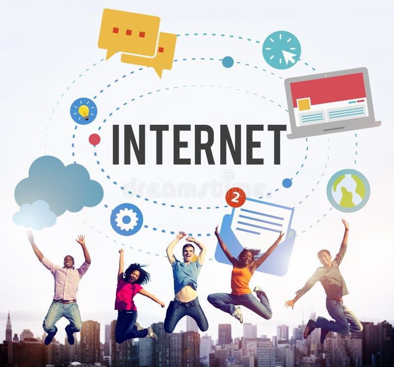 互联网Wifi连接社会网络技术概念 皇族释放例证