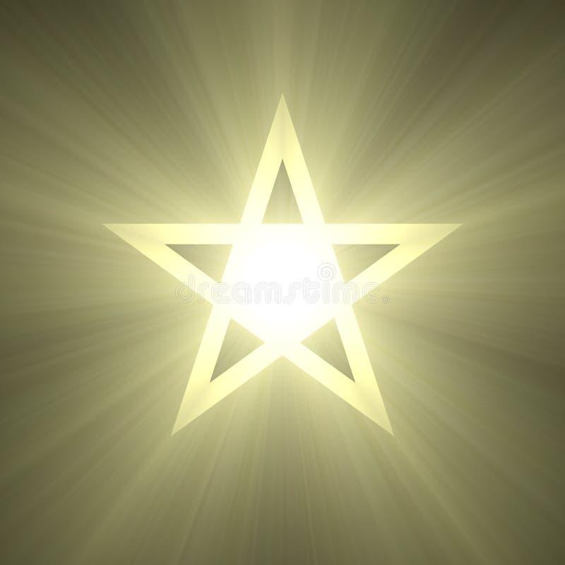 五与发光的轻的火光的指向的星 向量例证