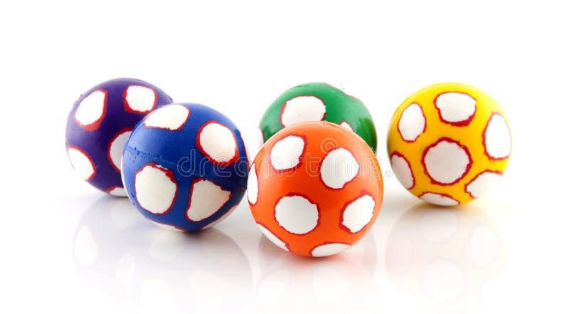 五个五颜六色的球 库存图片