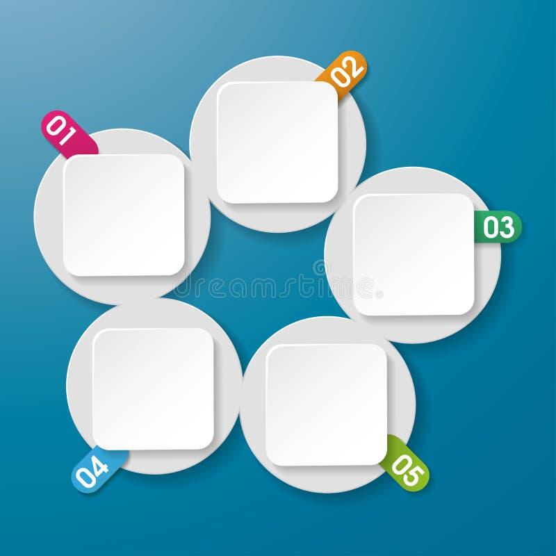 五个信息标签有数字圈子长方形蓝色背景 向量例证