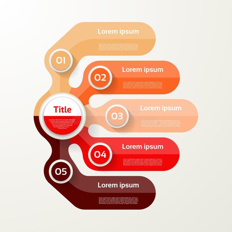 五个元素横幅 5步设计,绘制, infographic,步b 皇族释放例证