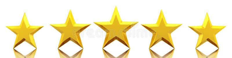 五个发光的金黄星 向量例证