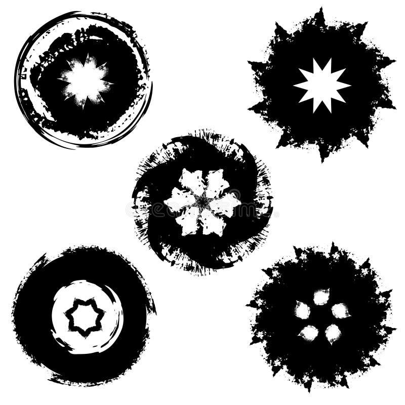 五个墨水斑点 向量例证