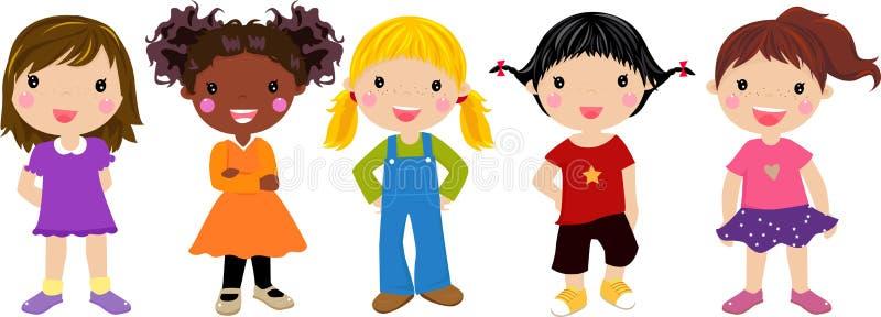 五个女孩唱歌 皇族释放例证
