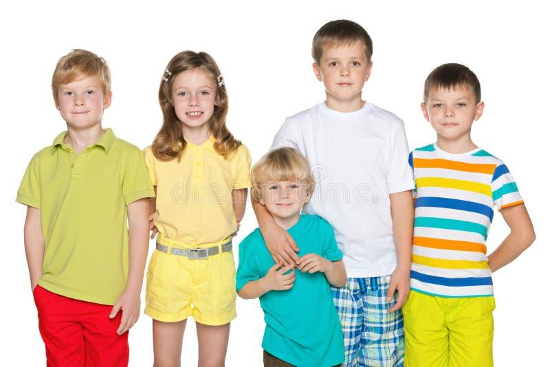 五个孩子友谊  免版税图库摄影