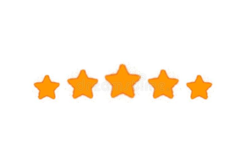 五个应用程序和网站的-传染媒介星顾客产品规定值回顾平的象 向量例证