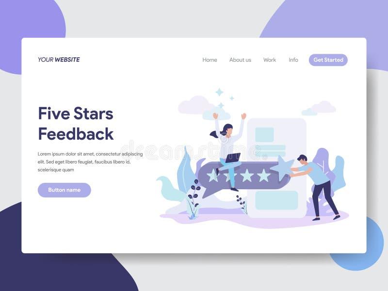 五个星反馈例证概念登陆的页模板  网页设计的现代平的设计观念网站的和 库存例证