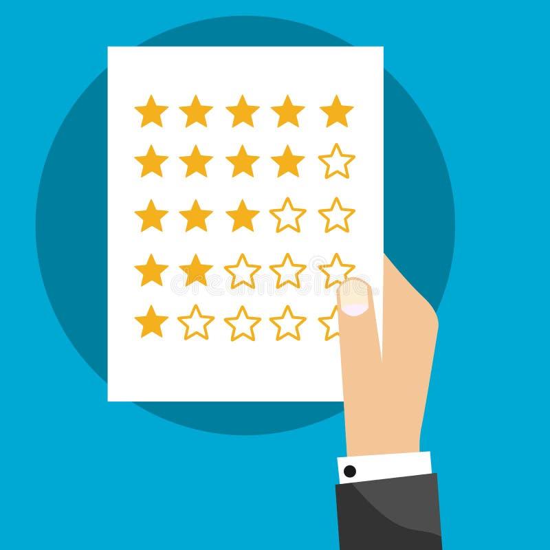 五个星在纸的评估系统与手平的传染媒介标志 库存例证