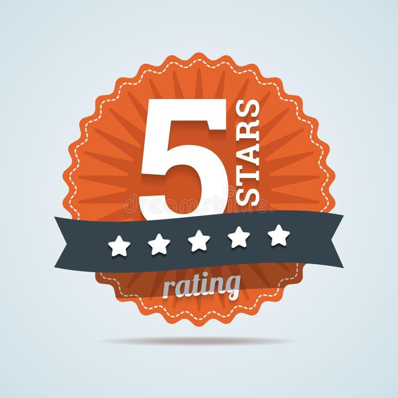 五个星对估计签到平的样式 库存例证