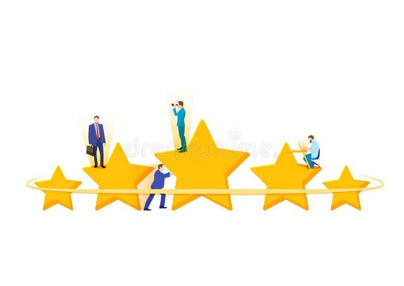 五个星的平的等量概念,最佳的规定值,用户反映,正面回顾 优胜者奖第一个地方竞争星 向量例证