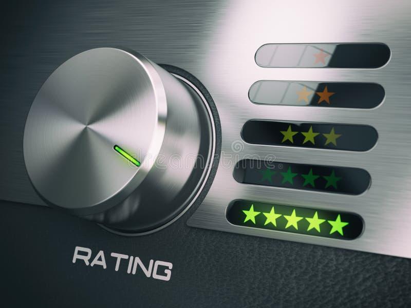 五个星质量标准服务,满意,顾客loya 库存例证