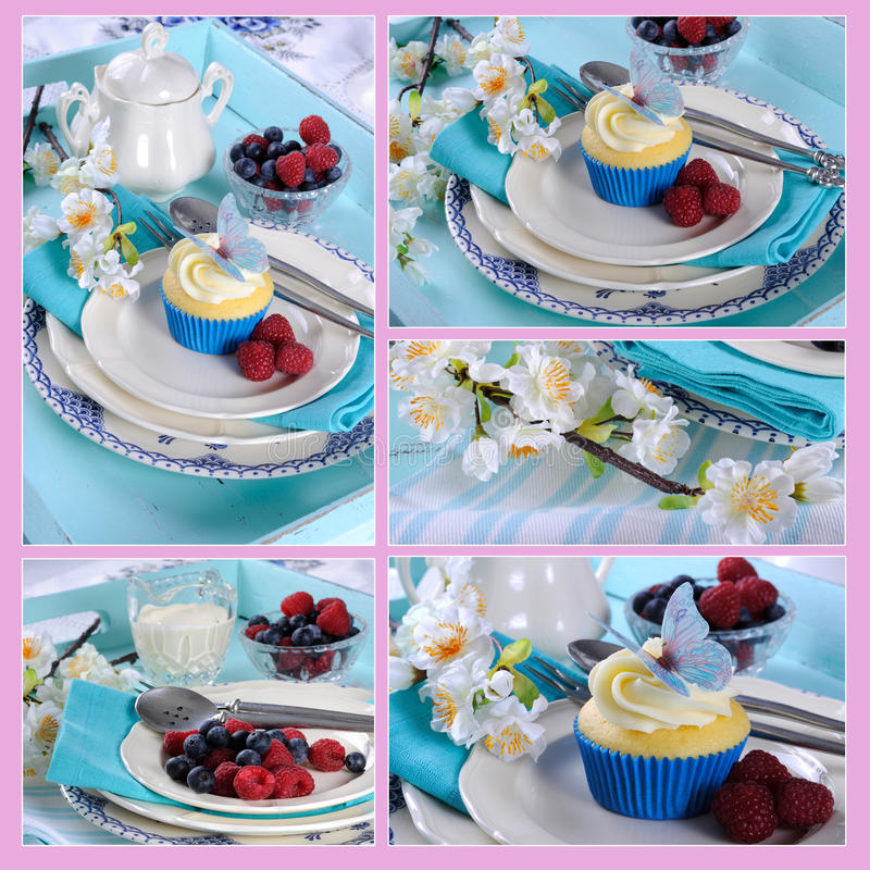 五个杯形蛋糕图象拼贴画与蝴蝶薄酥饼装饰的 免版税库存图片