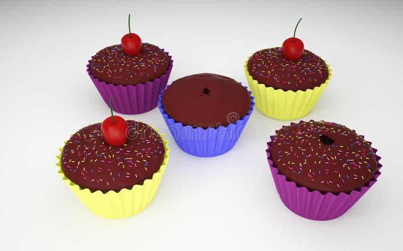 五个杯形蛋糕3D照片 库存照片