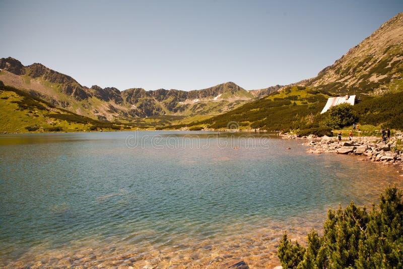五个池塘谷  山tatry山的湖和山 图库摄影