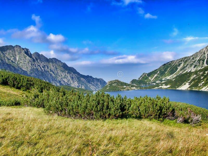 五个波兰湖谷全景  免版税图库摄影
