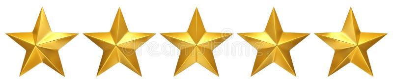 五个金黄星,最佳的规定值 皇族释放例证
